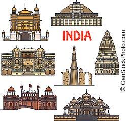 voyage, indien, architecture, icône, repères