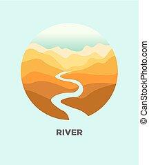 voyage, isolé, canyon, vecteur, paysage, rivière, désert,...