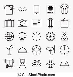 voyage, isolé, illustration, vecteur, ligne, icône