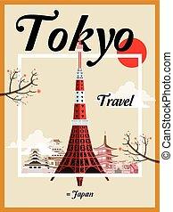 voyage, japon, fasciner, affiche