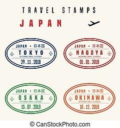 voyage, japon, timbres