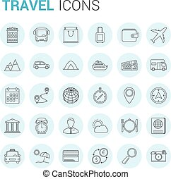 voyage, ligne, icônes