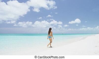voyage, marche, bikini, vacances, plage, femme