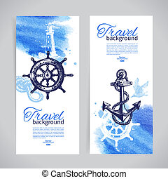 voyage, mer, banners., ensemble, nautique, aquarelle, croquis, illustrations, main, dessiné, design.