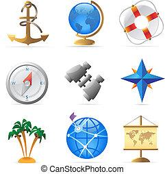 voyage, mer, icônes