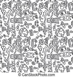 voyage, modèle, doodles