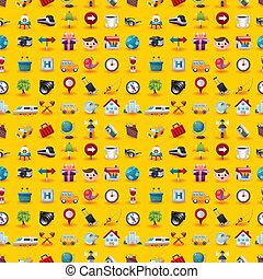 voyage, modèle, jaune, seamless, icônes
