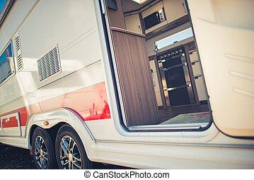 voyage, moderne, caravane, camping