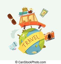 voyage mondial, concept, autour de