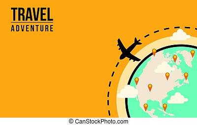 voyage mondial, concept, aventure