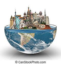 voyage mondial, concept, monuments