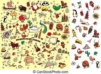 voyage mondial, visuel, game:, trouver, quelques-uns, items!, solution, dans, caché, layer.