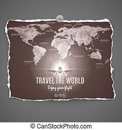 voyage, mondiale, conception