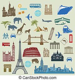 voyage, mondiale, international, célèbre