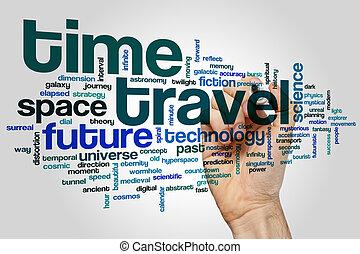 voyage, mot, nuage, temps