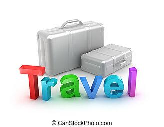 voyage, mot, valises