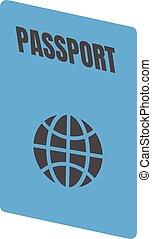 voyage, national, passeport, icône, document, identification, visa