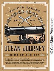 voyage, nautique, océan, bateau, vendange, affiche, marin