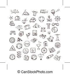 voyage, navigation, icônes