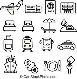 voyage, noir, contour, icônes