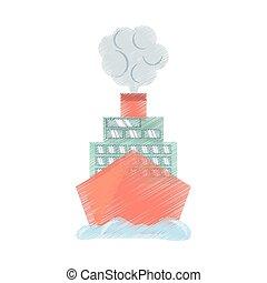 voyage, océan vacances, bateau croisière, dessin