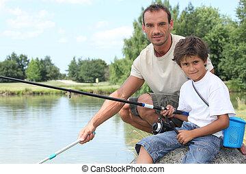 voyage, père, pêche lac, fils