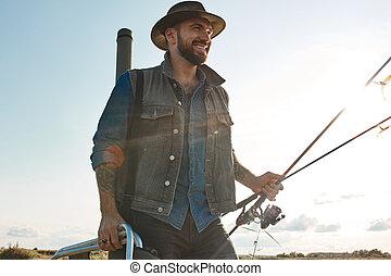voyage pêche, premier, fils, père