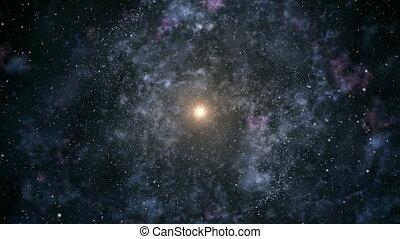 voyage, par, galaxie