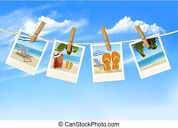 voyage, pendre, vacances, photos, vecteur, fond, rope.