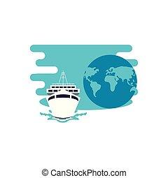 voyage, planète, croisière, la terre, bateau, bateau