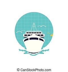 voyage, planète, croisière, mondiale, bateau, bateau