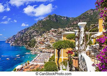 voyage, repères, holidays., amalfi, splendide, italie, populaire, -, beau, été, positano, côte