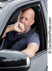 voyage route, chauffeur, temps, fatigué, été