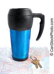 voyage, route, tasse coffe
