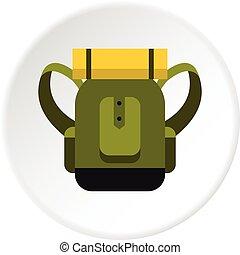 voyage, sac à dos, cercle, icône