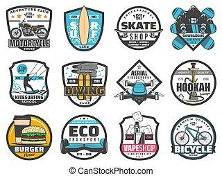 voyage, sport loisir, aventure, activité, insignes