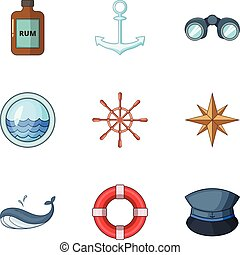 voyage, style, icônes, ensemble, mer, dessin animé