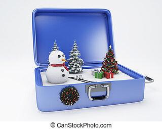 voyage, suitcase., vacances hiver, concept.