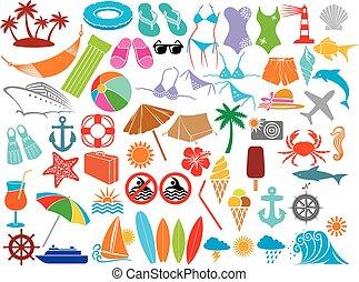 voyage, (summer), vacances, icônes