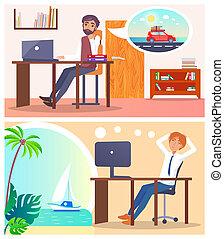voyage, sur, bureau, employés, ou, rêve, voyage, route
