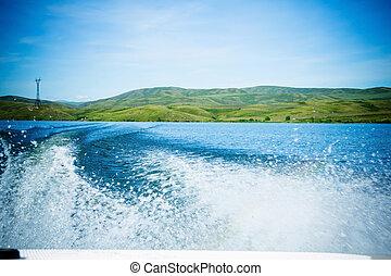 voyage, sur, eau, dans, les, bateau