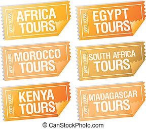 voyage, tickets., autocollants
