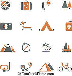 voyage tourisme, icône, ensemble, vecteur