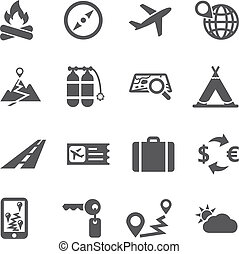 voyage tourisme, icône, ensemble, vector.