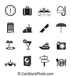 voyage, tourisme, voyage, icônes