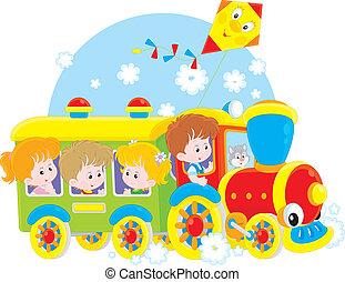 voyage, train, enfants