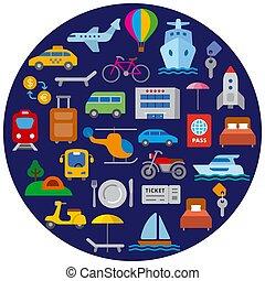 voyage, transport, icône