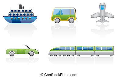 voyage, transport, icônes