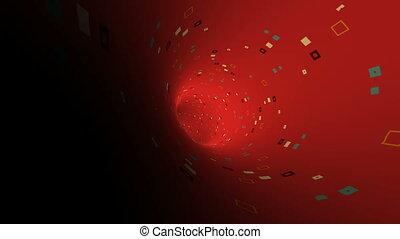 voyage, tunnel, par, rouges, particule