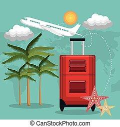 voyage, vacances, conception, valise, avion, plage, rouges
